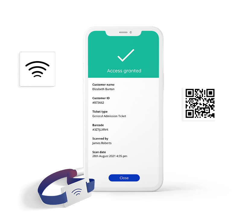 Flexible ticket scanning options from RFID wristbands to mobile QR code entry.